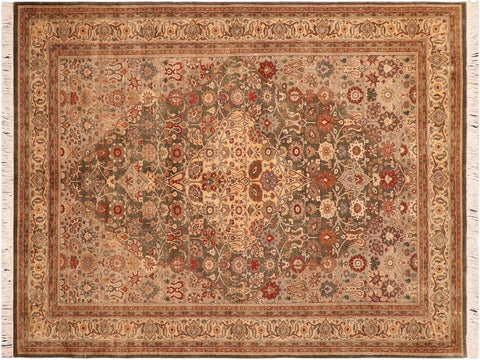 "A04200, 6' 0"" X  9' 2"",Traditional                   ,6' x 9',Green,GREY,Hand-knotted                  ,Pakistan   ,100% Wool  ,Rectangle  ,652671161209"