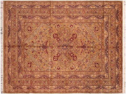 "A04201, 6' 0"" X  9' 1"",Traditional                   ,6' x 9',Green,LT. GOLD,Hand-knotted                  ,Pakistan   ,100% Wool  ,Rectangle  ,652671161216"