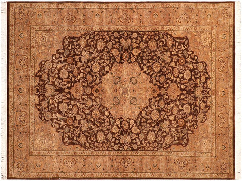 "A04206, 6' 2"" X  9' 4"",Traditional                   ,6' x 9',Brown,LT. GOLD,Hand-knotted                  ,Pakistan   ,100% Wool  ,Rectangle  ,652671161261"