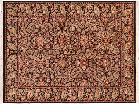 "A04221, 6' 3"" X  9' 1"",Traditional                   ,6' x 9',Black,LT. GREEN,Hand-knotted                  ,Pakistan   ,100% Wool  ,Rectangle  ,652671161414"