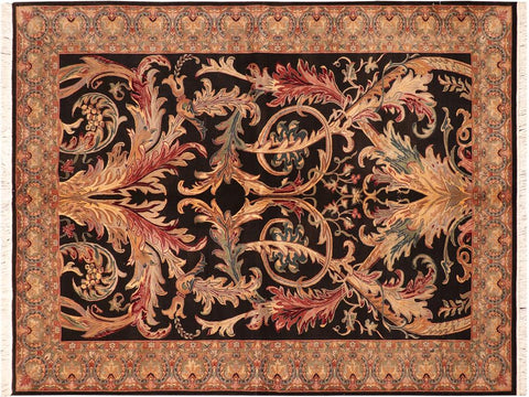 "A04223, 6' 1"" X  9' 3"",Traditional                   ,6' x 9',Black,LT. GREEN,Hand-knotted                  ,Pakistan   ,100% Wool  ,Rectangle  ,652671161438"