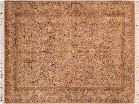 "A04242, 6' 1"" X  9' 7"",Traditional                   ,6' x 10',Tan,BROWN,Hand-knotted                  ,Pakistan   ,100% Wool  ,Rectangle  ,652671161629"