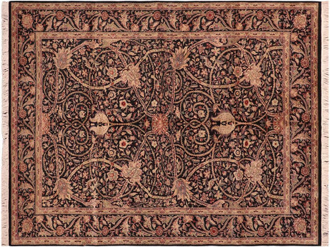 "A04243, 6' 2"" X  9' 0"",Traditional                   ,6' x 9',Black,LT. GREEN,Hand-knotted                  ,Pakistan   ,100% Wool  ,Rectangle  ,652671161636"