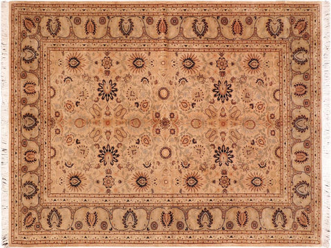 "A04244, 6' 1"" X  8'11"",Traditional                   ,6' x 9',Tan,LT. GREEN,Hand-knotted                  ,Pakistan   ,100% Wool  ,Rectangle  ,652671161643"