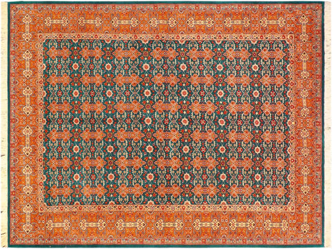 handmade Traditional  Teal Orange Hand Knotted RECTANGLE 100% WOOL area rug 6 x 9