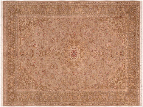 handmade Traditional Kasbeen Taupe Green Hand Knotted RECTANGLE 100% WOOL area rug 6 x 9
