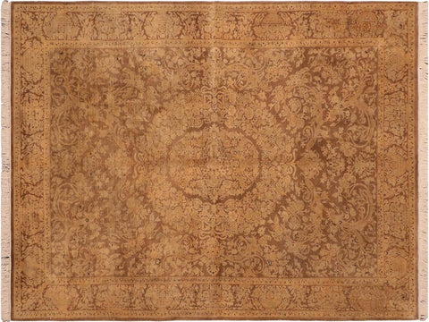 handmade Traditional Tamour Brown Gold Hand Knotted RECTANGLE 100% WOOL area rug 6 x 9
