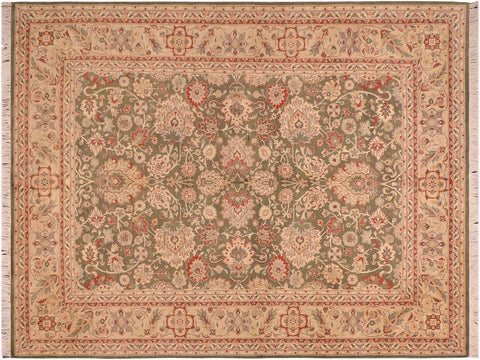 "A04264, 5'10"" X  9' 0"",Traditional                   ,6' x 9',Green,LT. TAN,Hand-knotted                  ,Pakistan   ,100% Wool  ,Rectangle  ,652671161841"