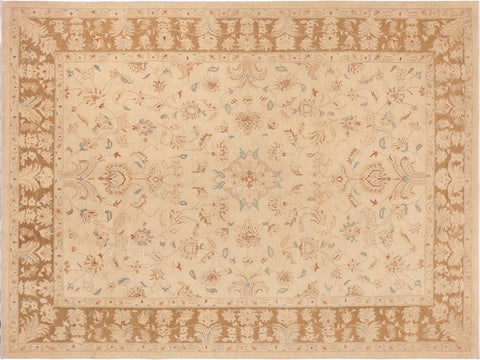 handmade Traditional Kafkaz Beige Brown Hand Knotted RECTANGLE 100% WOOL area rug 10 x 14