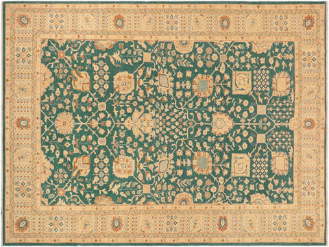 handmade Transitional Kafkaz Green Lt. Tan Hand Knotted RECTANGLE 100% WOOL area rug 10' x 14'