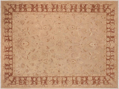 handmade Traditional Kafkaz Tan Brown Hand Knotted RECTANGLE 100% WOOL area rug 10 x 14