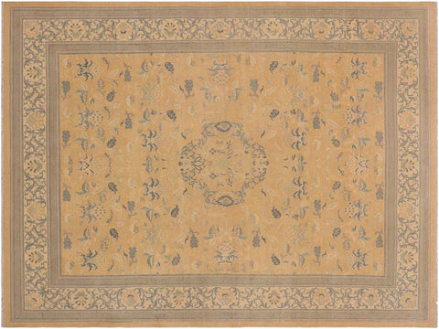 handmade Traditional Kafkaz Gold Beige Hand Knotted RECTANGLE 100% WOOL area rug 8 x 11