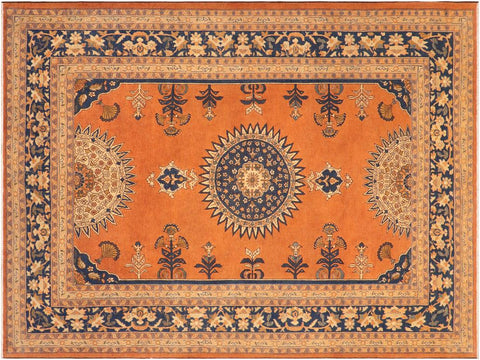 handmade Traditional Kafkaz Rust Blue Hand Knotted RECTANGLE 100% WOOL area rug 8 x 10