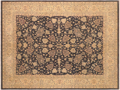 handmade Traditional Kafkaz Charcoal Tan Hand Knotted RECTANGLE 100% WOOL area rug 8 x 10