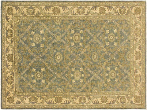 "A04521, 4' 1"" X  5'10"",Transitional                  ,4' x 6',Blue,IVORY,Hand-knotted                  ,Pakistan   ,100% Wool  ,Rectangle  ,652671164392"