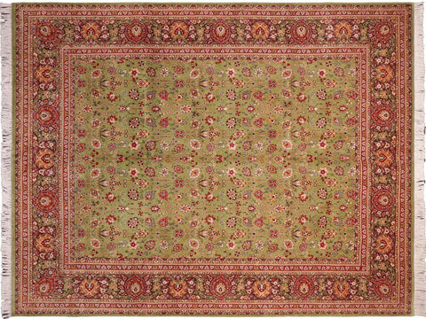 "A04568, 8' 1"" X 10' 0"",Traditional                   ,8' x 10',Green,BROWN,Hand-knotted                  ,Pakistan   ,100% Wool  ,Rectangle  ,652671164859"