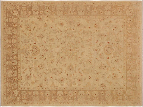handmade Traditional Kafkaz Ivory Brown Hand Knotted RECTANGLE 100% WOOL area rug 9x12'