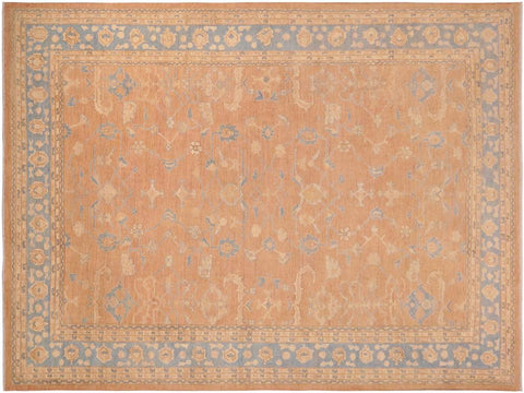 handmade Transitional Kafkaz Brown Blue Hand Knotted RECTANGLE 100% WOOL area rug 10 x 14