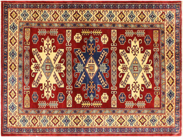 handmade Geometric Sherwan Red Beige Hand Knotted RECTANGLE 100% WOOL area rug 4x6,Hand knotted indoor Sherwan wool area rug made for all rooms with high quality wool in rich color pallet handmade by skilled artisans in geometric allover design is known for quality and affordability Oriental hand made rug offered at cheap discount for any decor one of a kind Shirwan Sharvan Shervan Sherwan Servan rug