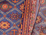 handmade Geometric Sherwan Blue Orange Hand Knotted RECTANGLE 100% WOOL area rug 5x6,Hand knotted indoor Sherwan wool area rug made for all rooms with high quality wool in rich color pallet handmade by skilled artisans in geometric allover design is known for quality and affordability Oriental hand made rug offered at cheap discount for any decor one of a kind Shirwan Sharvan Shervan Sherwan Servan rug