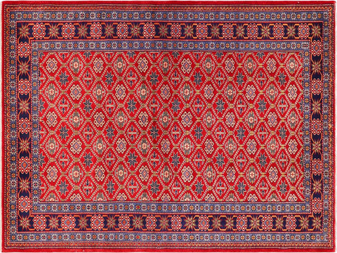 handmade Geometric Sherwan Red Blue Hand Knotted RECTANGLE 100% WOOL area rug 5x7,Hand knotted indoor Sherwan wool area rug made for all rooms with high quality wool in rich color pallet handmade by skilled artisans in geometric allover design is known for quality and affordability Oriental hand made rug offered at cheap discount for any decor one of a kind Shirwan Sharvan Shervan Sherwan Servan rug