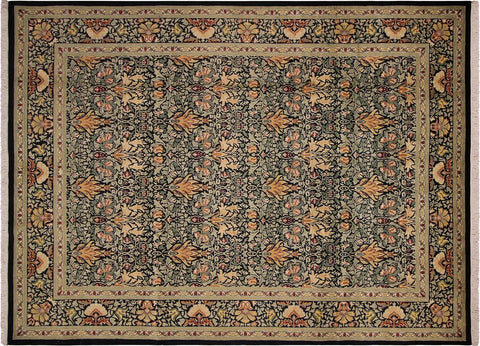 "A04709, 9' 1"" X 12' 3"",Transitiona,9' x 12',Black,GREEN,Hand-knotted                  ,Pakistan   ,100% Wool  ,Rectangle  ,"
