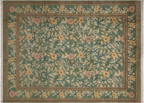 "A04717, 9' 1"" X 12' 3"",Transitiona,9' x 12',Green,PINK,Hand-knotted                  ,Pakistan   ,100% Wool  ,Rectangle  ,"
