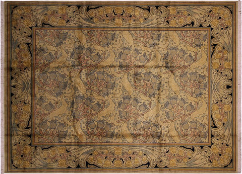 "A04719, 9' 2"" X 12' 3"",Transitiona,9' x 12',Goldld,BLUE,Hand-knotted                  ,Pakistan   ,100% Wool  ,Rectangle  ,"