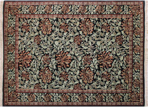 "A04721, 6' 2"" X  9' 1"",Transitiona,6' x 9',Black,GREEN,Hand-knotted                  ,Pakistan   ,100% Wool  ,Rectangle  ,"