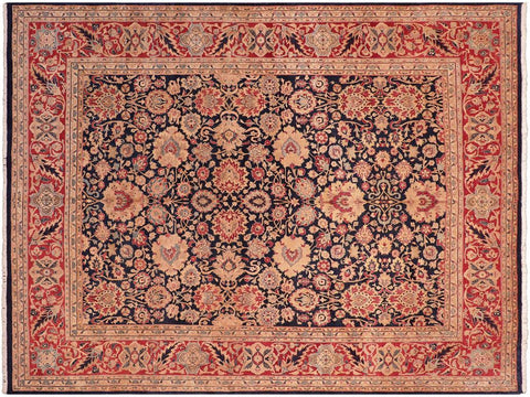 handmade Traditional Anmol Agra Blue Red Hand Knotted RECTANGLE 100% WOOL area rug 8x10 Hand knotted indoor Pak Persian vegetable dyed area rug made for all rooms with high quality New Zealand wool in rich color pallet weaved by skilled artisans in traditional transitional design known for quality and affordable price. Oriental rug offered at cheap discount for any decor, with Persian weave(KPSI upto 300)