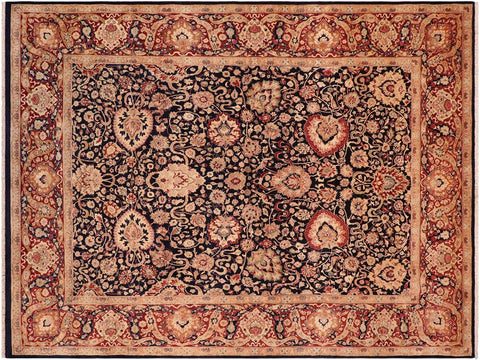handmade Traditional Anmol Agra Blue Red Hand Knotted RECTANGLE 100% WOOL area rug 8x11 Hand knotted indoor Pak Persian vegetable dyed area rug made for all rooms with high quality New Zealand wool in rich color pallet weaved by skilled artisans in traditional transitional design known for quality and affordable price. Oriental rug offered at cheap discount for any decor, with Persian weave(KPSI upto 300)