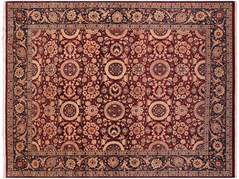 handmade Transitional Agra Tabriz Red Blue Hand Knotted RECTANGLE 100% WOOL area rug 8x10 Hand knotted indoor Pak Persian vegetable dyed area rug made for all rooms with high quality New Zealand wool in rich color pallet weaved by skilled artisans in traditional transitional design known for quality and affordable price. Oriental rug offered at cheap discount for any decor, with Persian weave(KPSI upto 300)
