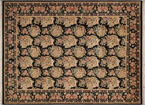 "A04741, 9' 2"" X 12' 4"",Transitiona,9' x 12',Black,PINK,Hand-knotted                  ,Pakistan   ,100% Wool  ,Rectangle  ,"