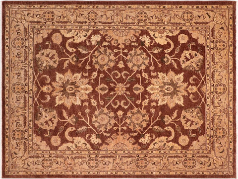 handmade Traditional Kafkaz Brown Tan Hand Knotted RECTANGLE 100% WOOL area rug 8 x 10