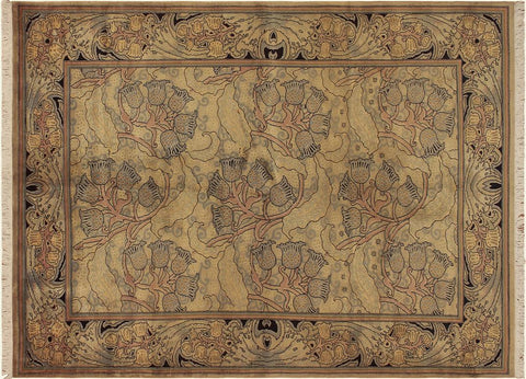 "A04789, 6' 2"" X  8'10"",Transitiona,6' x 9',Tan,BLUE,Hand-knotted                  ,Pakistan   ,100% Wool  ,Rectangle  ,"