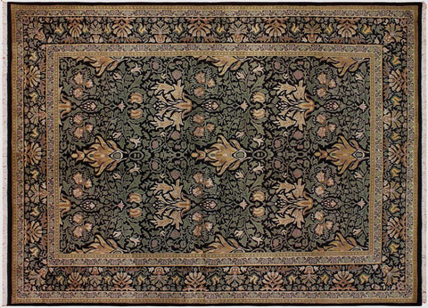 "A04795, 6' 3"" X  9' 2"",Transitiona,6' x 9',Black,GREEN,Hand-knotted                  ,Pakistan   ,100% Wool  ,Rectangle  ,"