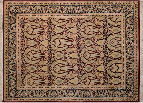 "A04798, 8' 1"" X 10' 2"",Transitiona,8' x 10',Red,BLUE,Hand-knotted                  ,Pakistan   ,100% Wool  ,Rectangle  ,"
