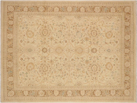 handmade Transitional Kafkaz Beige Brown Hand Knotted RECTANGLE 100% WOOL area rug 9 x 12