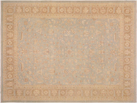handmade Traditional Kafkaz Blue Brown Hand Knotted RECTANGLE 100% WOOL area rug 9 x 12