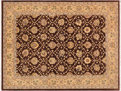 handmade Transitional Kafkaz Brown Tan Hand Knotted RECTANGLE 100% WOOL area rug 9x12'