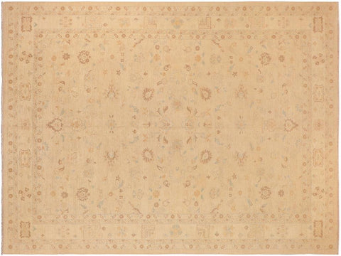 handmade Transitional Kafkaz Tan Brown Hand Knotted RECTANGLE 100% WOOL area rug 10' x 14'