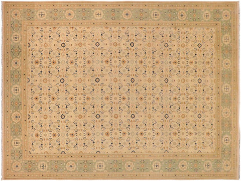 handmade Transitional Kafkaz Tan Green Hand Knotted RECTANGLE 100% WOOL area rug 10' x 14'