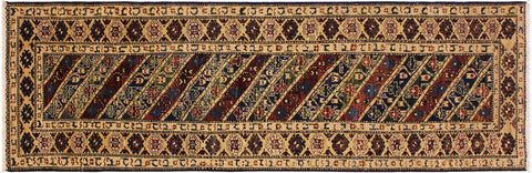 "A04910, 2' 9"" X  9' 8"",Transitional                  ,3' x 25',Blue,IVORY,Hand-knotted                  ,Pakistan   ,100% Wool  ,Runner     ,652671168253"