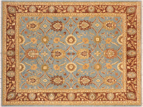 handmade Transitional Kafkaz Blue Brown Hand Knotted RECTANGLE 100% WOOL area rug 8x10'