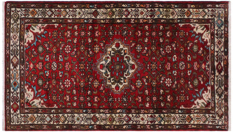handmade Geometric Kashan Red Ivory Hand Knotted RUNNER WOOL&SILK area rug 3x25'