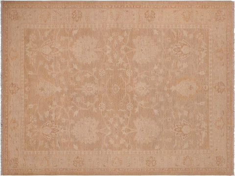 handmade Traditional Lahore Brown Tan Hand Knotted RECTANGLE 100% WOOL area rug 6 x 9