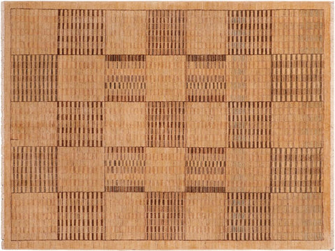handmade Modern Kafkaz Beige Tan Hand Knotted RECTANGLE 100% WOOL area rug 6 x 9