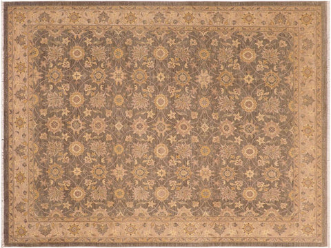 handmade Transitional Kafkaz Gray Lt. Brown Hand Knotted RECTANGLE 100% WOOL area rug 8 x 10