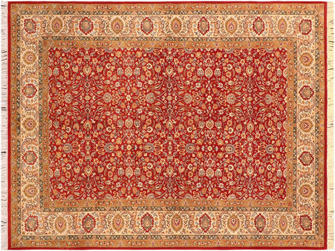handmade Traditional Regular Red Beige Hand Knotted RECTANGLE 100% WOOL area rug 6 x 9