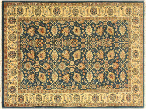 "A05057, 4' 2"" X  5'11"",Transitional                  ,4' x 6',Teal,IVORY,Hand-knotted                  ,Pakistan   ,100% Wool  ,Rectangle  ,652671169724"